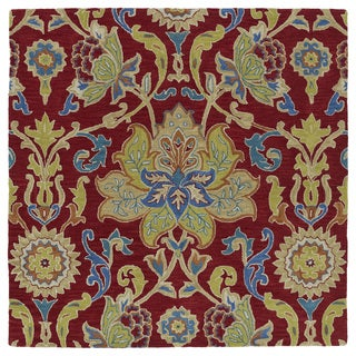 Anabelle Red Floral Hand-Tufted Wool Rug (11'9 x 11'9 Square)