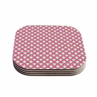 Kess InHouse Mayacoa Studio 'Rosea' Yellow Pink Coasters (Set of 4)