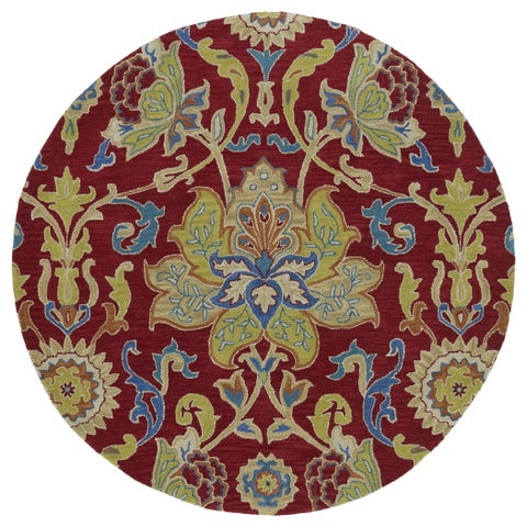 """Anabelle Red Floral Hand-Tufted Wool Rug (3'9 Round) - 3'9"""" Round"""