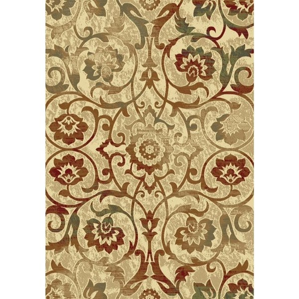 Machine-Made Majestic Scrolling Floral Cream Rug - Multi - 2'7 x 4'11