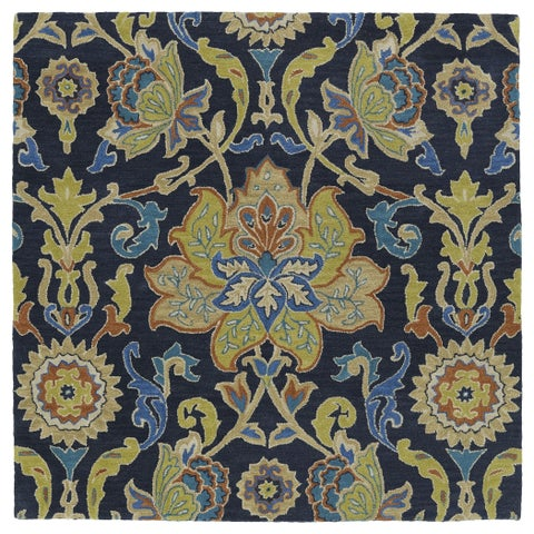 """Anabelle Navy Blue Floral Hand-Tufted Wool Rug - 7'9"""" Square"""