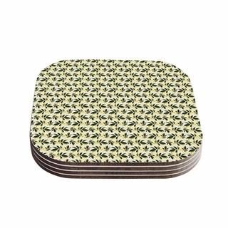 Kess InHouse Mayacoa Studio 'Pine Cone' Yellow Green Coasters (Set of 4)
