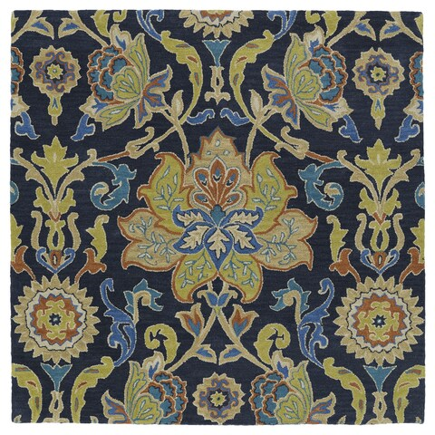"""Anabelle Navy Blue Floral Hand-Tufted Wool Rug - 9'9"""" Square"""