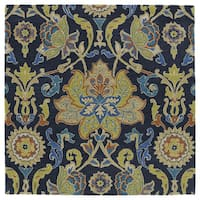 "Anabelle Navy Blue Floral Hand-Tufted Wool Rug - 9'9"" Square"