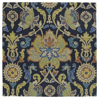 Anabelle Navy Blue Floral Hand-Tufted Wool Rug (3'9 x 3'9 Square)