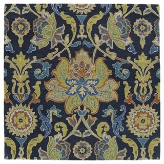 """Anabelle Navy Blue Floral Hand-Tufted Wool Rug - 5'9"""" Square"""