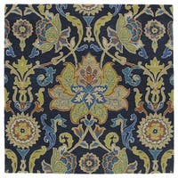 "Anabelle Navy Blue Floral Hand-Tufted Wool Rug - 5'9"" x 5'9"""