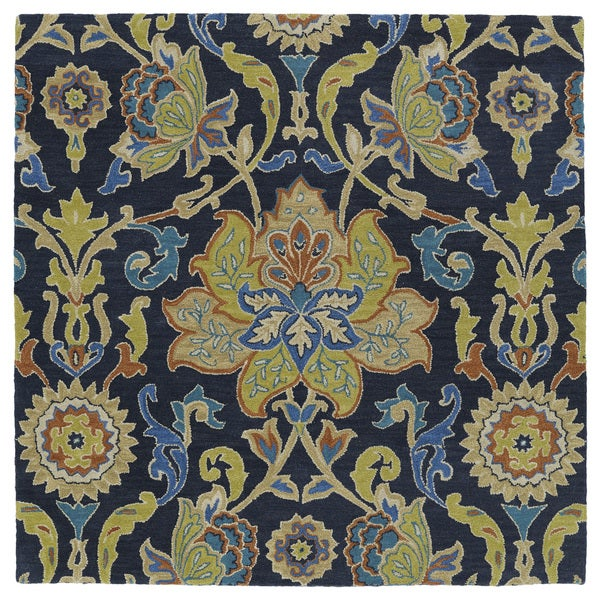 "Anabelle Navy Blue Floral Hand-Tufted Wool Rug - 11'9"" Square"
