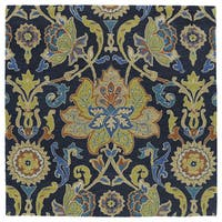 """Anabelle Navy Blue Floral Hand-Tufted Wool Rug - 11'9"""" x 11'9"""""""