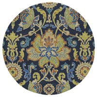 Anabelle Navy Blue Floral Hand-Tufted Wool Rug (9'9 x 9'9 Round)