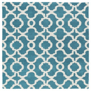 Cosmopolitan Trellis Teal/Ivory Hand-Tufted Wool Rug (11'9 x 11'9 Square)
