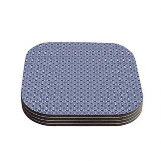 Kess InHouse Carolyn Greifeld 'Bohemian Blues II' Blue Geometric Coasters (Set of 4)