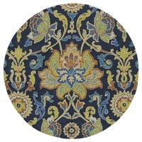 Anabelle Navy Blue Floral Hand-Tufted Wool Rug (3'9 x 3'9 Round)