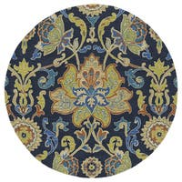 "Anabelle Navy Blue Floral Hand-Tufted Wool Rug (11'9 Round) - 11'9"" Round"