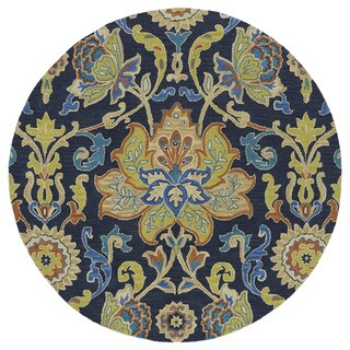 Anabelle Navy Blue Floral Hand-Tufted Wool Rug (11'9 Round)