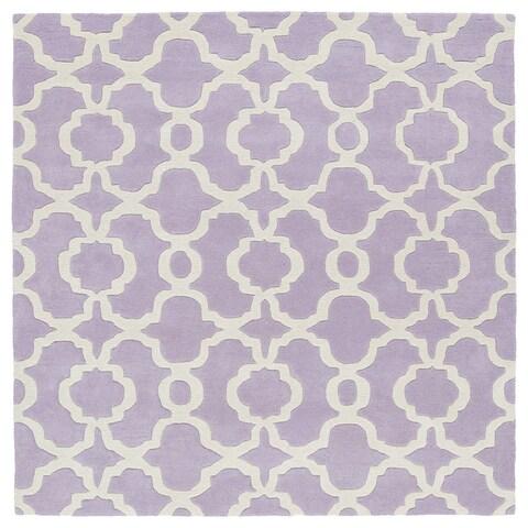 "Cosmopolitan Trellis Lilac/Ivory Hand-Tufted Wool Rug - 11'9"" Square"