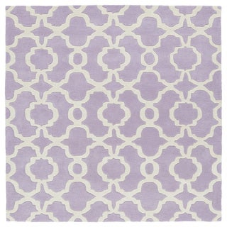 Cosmopolitan Trellis Lilac/Ivory Hand-Tufted Wool Rug (11'9 x 11'9 Square)
