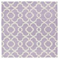 "Cosmopolitan Trellis Lilac/Ivory Hand-Tufted Wool Rug - 11'9"" x 11'9"""