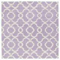 Cosmopolitan Trellis Lilac/Ivory Hand-Tufted Wool Rug (7'9 x 7'9 Square) - 7'9 x 7'9