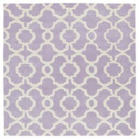 "Cosmopolitan Trellis Lilac/Ivory Hand-Tufted Wool Rug - 9'9"" x 9'9"""