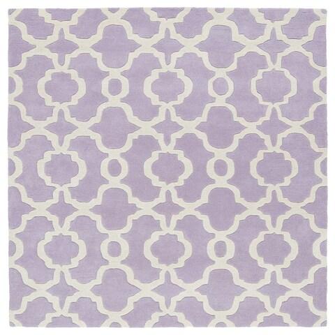"Cosmopolitan Trellis Lilac/Ivory Hand-Tufted Wool Rug - 3'9"" Square"