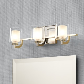 Quoizel Kolt Contemporary Silver Steel/Clear Glass 6-inch x 21-inch x 6.5-inch Bath Fixture with 3 Lights