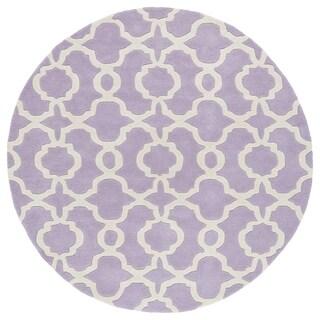 Cosmopolitan Trellis Lilac/Ivory Hand-Tufted Wool Rug (5'9 Round)