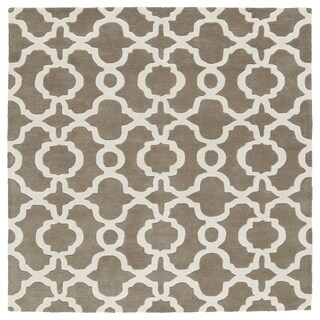 Cosmopolitan Trellis Brown/Ivory Hand-Tufted Wool Rug (7'9 x 7'9 Square)