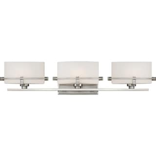 Quoizel Nolan Brushed Nickel Steel/Frosted Glass Bath Fixture With 3 Lights