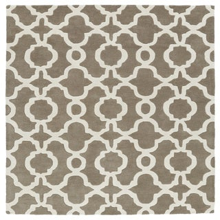 Cosmopolitan Trellis Brown/Ivory Hand-Tufted Wool Rug (9'9 x 9'9 Square)
