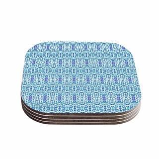 Kess InHouse Carolyn Greifeld 'Shabby Blues' Purple Digital Wood 4-piece Coaster Set