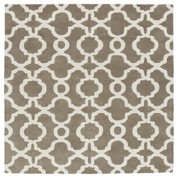 Cosmopolitan Trellis Brown Ivory Hand Tufted Wool Rug 11 X27 9