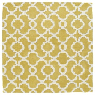 Cosmopolitan Trellis Yellow/Ivory Hand-Tufted Wool Rug (7'9 x 7'9)