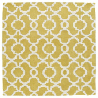 Cosmopolitan Trellis Yellow/Ivory Hand-Tufted Wool Rug (11'9 x 11'9 Square)