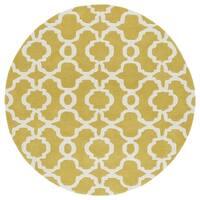 Cosmopolitan Trellis Yellow/Ivory Hand-Tufted Wool Rug - 7'9