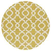 Cosmopolitan Trellis Yellow/ Ivory Hand-Tufted Wool Rug - 11'9