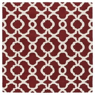 """Cosmopolitan Trellis Red/Ivory Hand-Tufted Wool Rug - 5'9"""" Square"""
