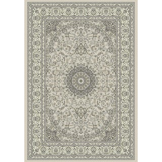 Tabriz Medallion Soft Grey/Cream Machine-made Rug (5'3 x 7'7)