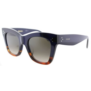 Celine CL 41098 /F/S Cathrine Small QLT Blue Havana Plastic Square Brown Gradient Lens Sunglasses