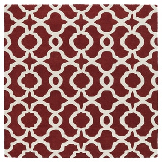 Cosmopolitan Trellis Red/ Ivory Hand-Tufted Wool Rug (11'9 Square)