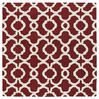 "Cosmopolitan Trellis Red/ Ivory Hand-Tufted Wool Rug - 11'9"" x 11'9"""
