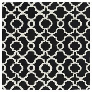 Cosmopolitan Trellis Black/Ivory Hand-Tufted Wool Rug (9'9 x 9'9 Square)