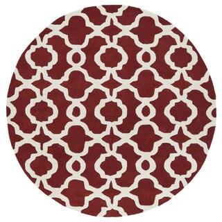 Cosmopolitan Trellis Red/Ivory Hand-Tufted Wool Rug (11'9 Round)