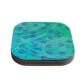 Kess InHouse Catherine Holcombe's 'Sweet Summer Swim' Green Wood Coasters (Set of 4)