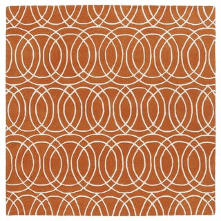 "Cosmopolitan Circles Orange/Ivory Hand-Tufted Wool Rug - 11'9"" Square"