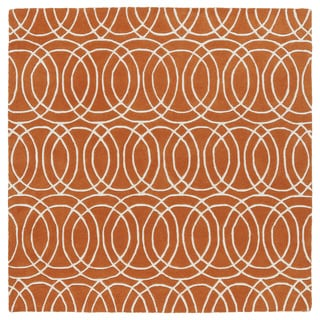 Cosmopolitan Circles Orange/Ivory Hand-Tufted Wool Rug (11'9 x 11'9 Square)
