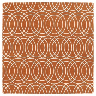 Cosmopolitan Circles Orange/Ivory Hand-Tufted Wool Rug (11'9 x 11'9 Square)