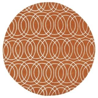 "Cosmopolitan Circles Orange/ Ivory Hand-Tufted Wool Rug - 5'9"" Round"