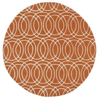 Cosmopolitan Circles Orange/Ivory Hand-Tufted Wool Rug (7'9 Round) - 7'9