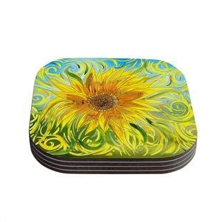 Kess InHouse Catherine Holcombe 'Sunflower Symphony' Yellow Green Coasters (Set of 4)